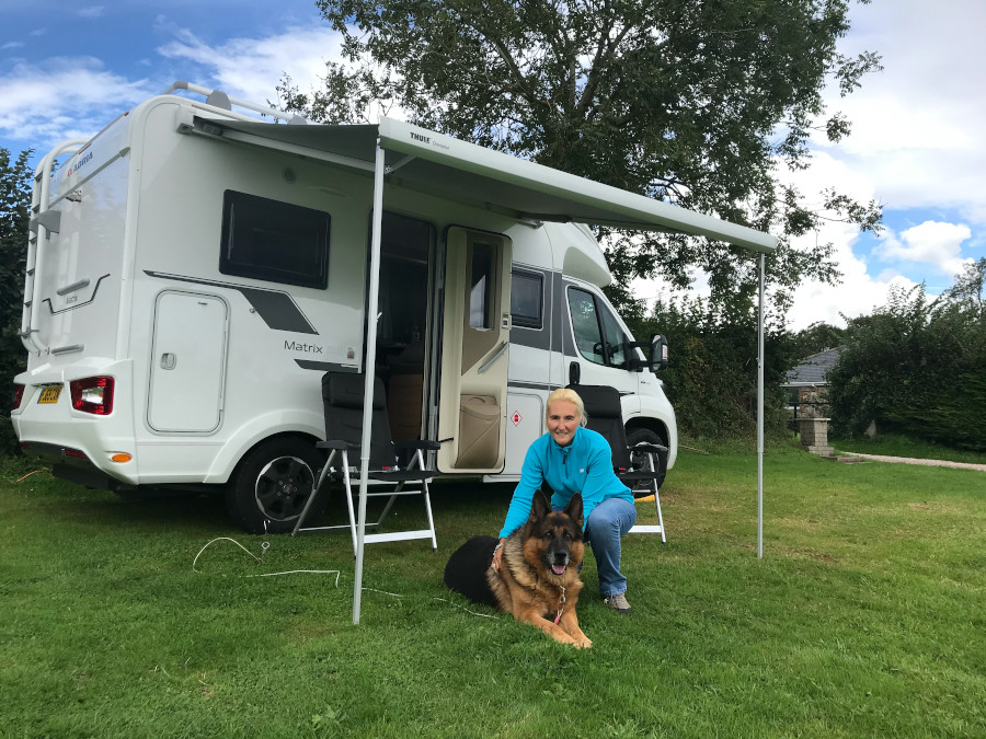 Motorhoming with Dogs: 5 Top Tips - Karina and Fudge in Devon.